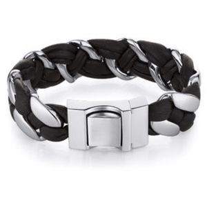 PEORA  LEATHER AND STAINLESS STEEL BRACELET